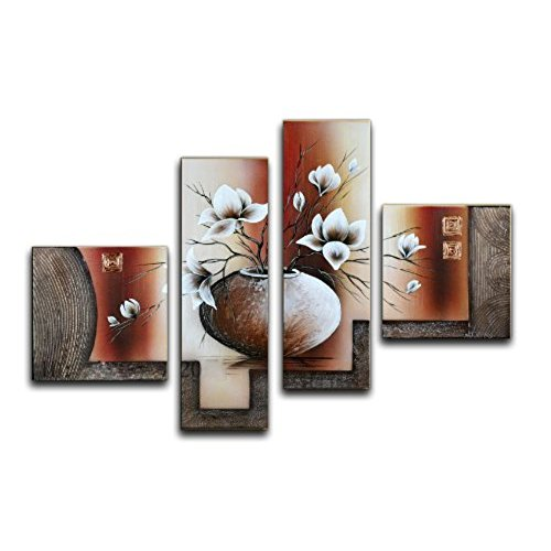 dining room wall decor wieco art large size decorative elegant flowers 4 panels 100% hand-painted WWAEIJX