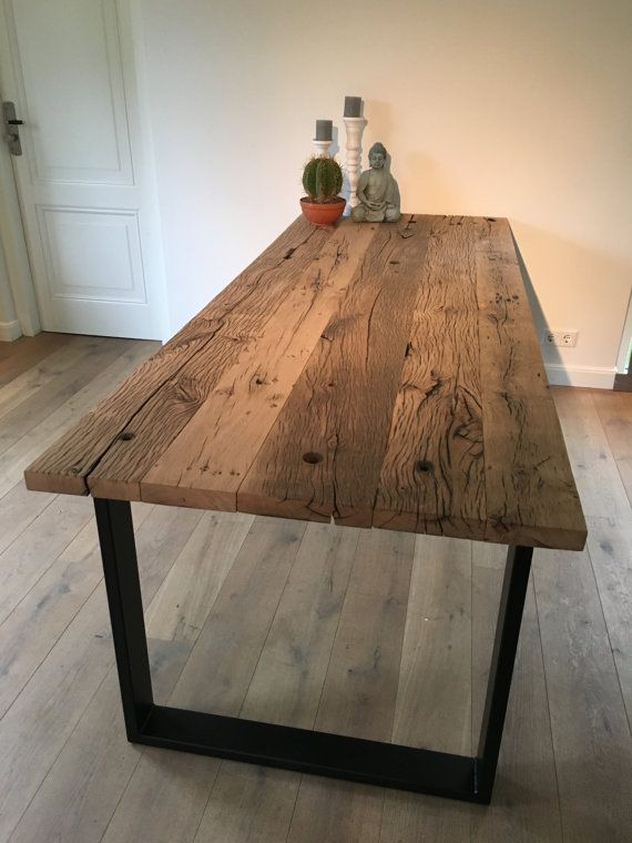 dining table with thick old oak table top and by mevrouwvanhout ACIVFFU