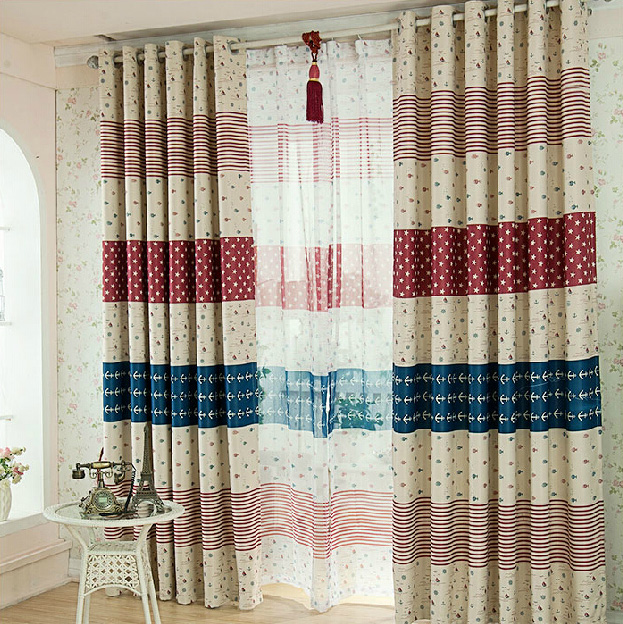 discount poly/cotton striped beige nautical curtains for kids CZROGVA