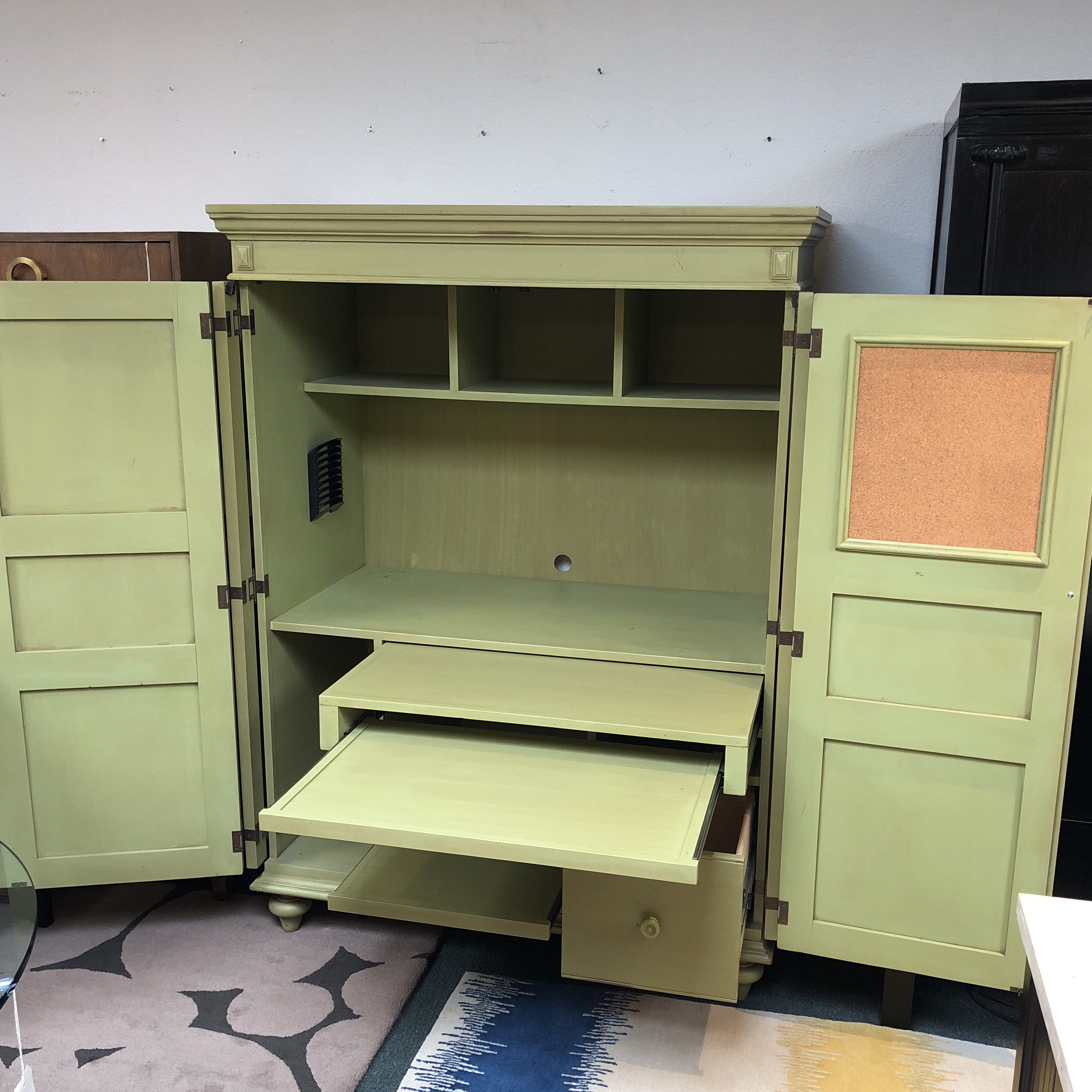distressed green painted wood computer armoire - image 4 of 11 PPBXLYB