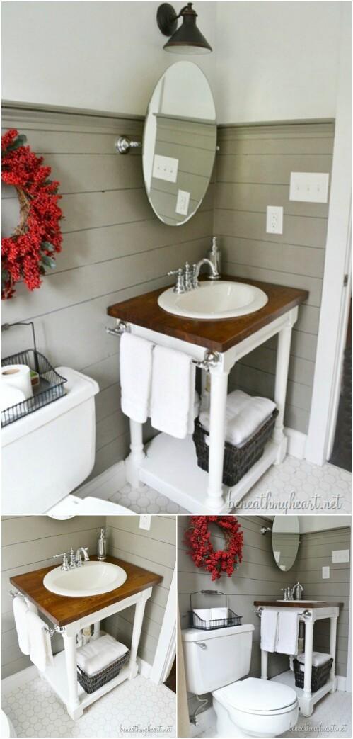 dıy bathroom vanity butcher block vanity GNOVTDA