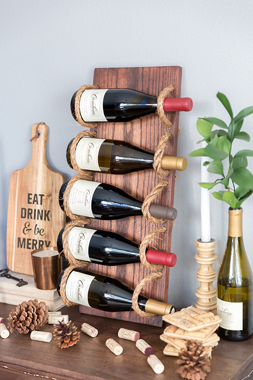 diy wine racks chic diy rustic wine rack with rope HGOLRVH