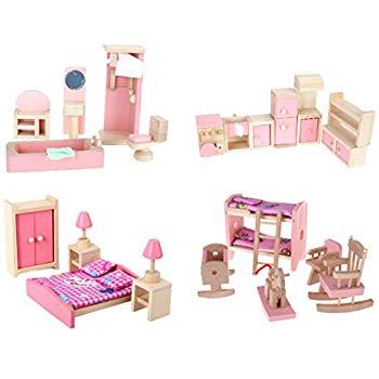 doll house furniture set 4 set dollhouse furniture kid toy bathroom kid room bedroom kitchen GCBLOEG