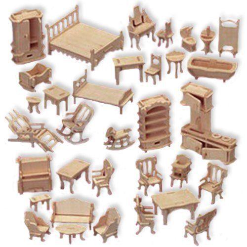 doll house furniture set woodcraft construction kit, 1/24 scale EAKPZRA