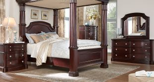 dumont cherry 6 pc king canopy bedroom - king bedroom sets GBSCKRW