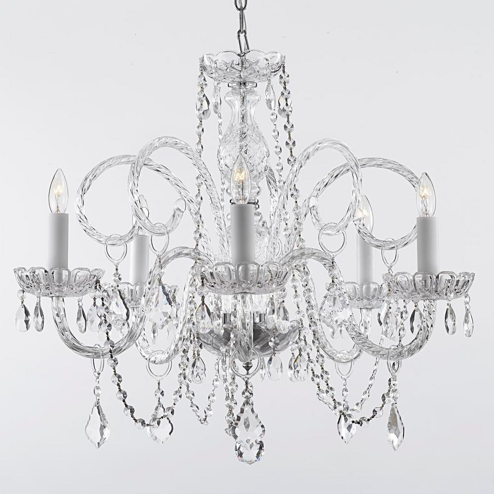 empress 5-light crystal plug in chandelier VZNGGPI