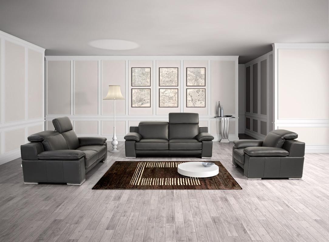 estro salotti evergreen modern black italian leather sofa set EHEIZZB