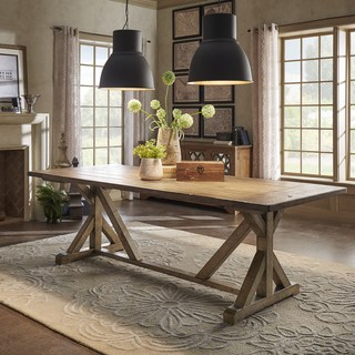 farmhouse dining table paloma rustic reclaimed wood rectangular trestle farm table by inspire q HLSQNMN