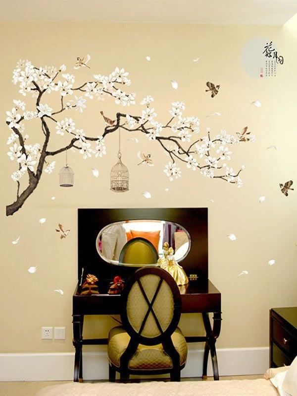 flower tree pattern wall art stickers - multicolor PCODTQQ