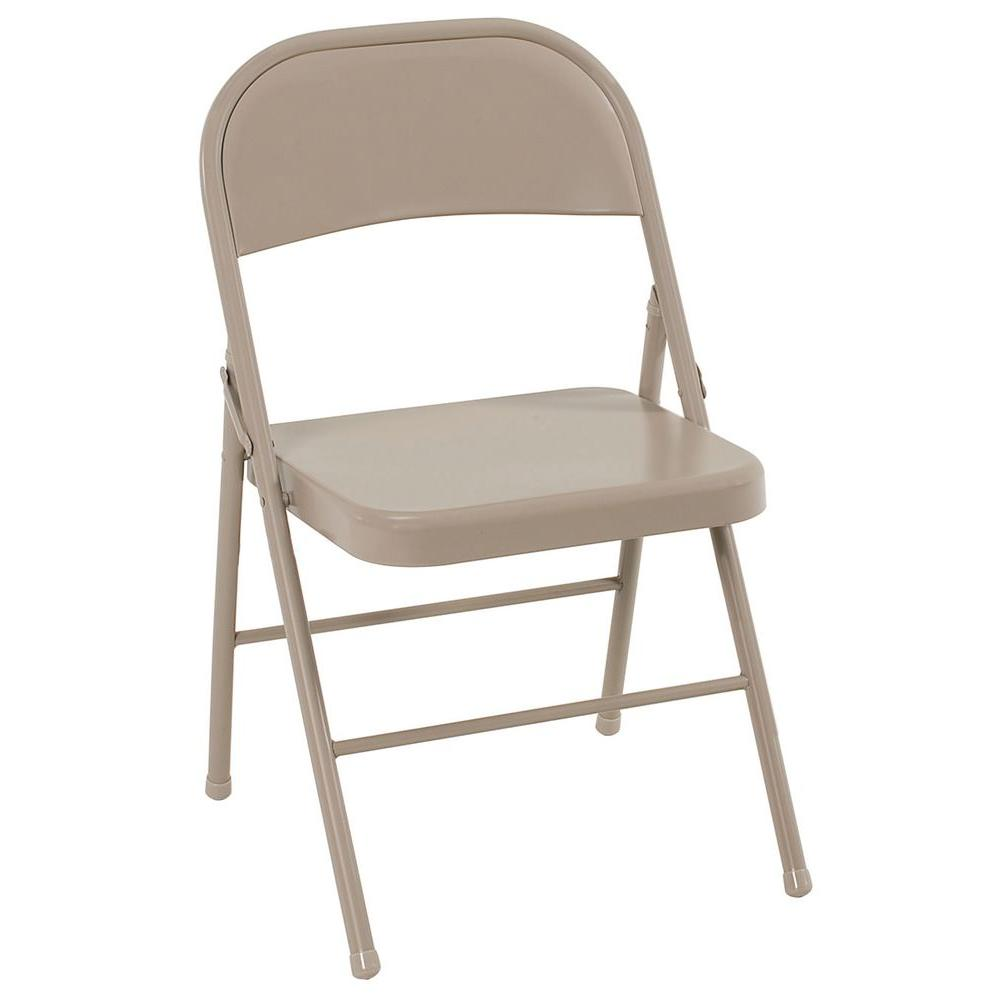 folding chair cosco antique linen all steel folding chairs (4-pack) RGYVUFK