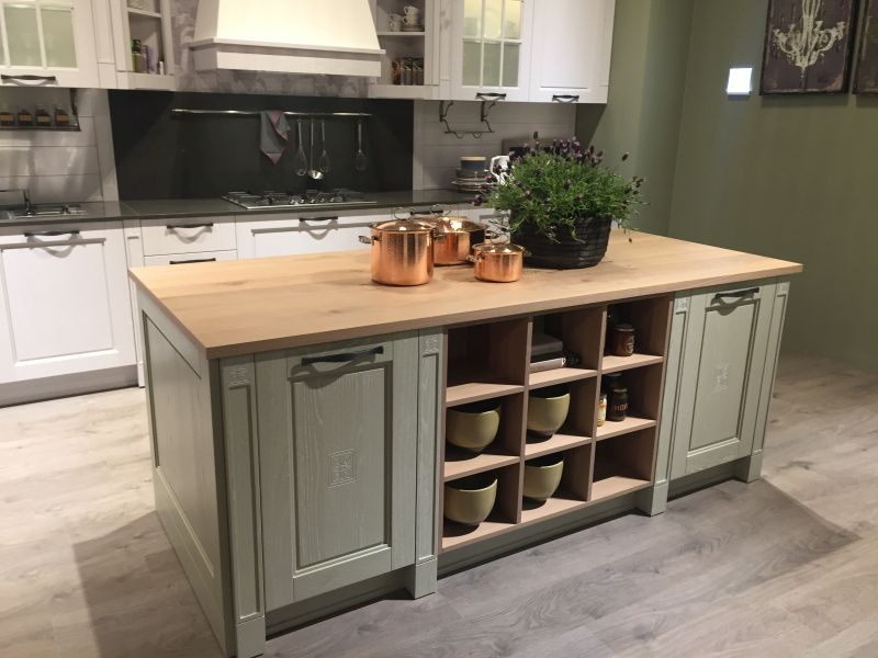 french country kitchen island and open storge space VTMCITE