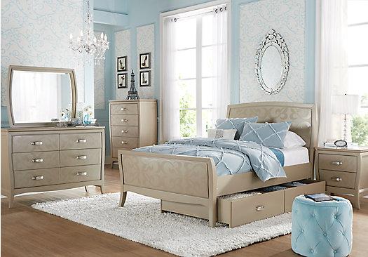 full bedroom sets belle noir champagne 5 pc full bedroom - panel ADBDQJL