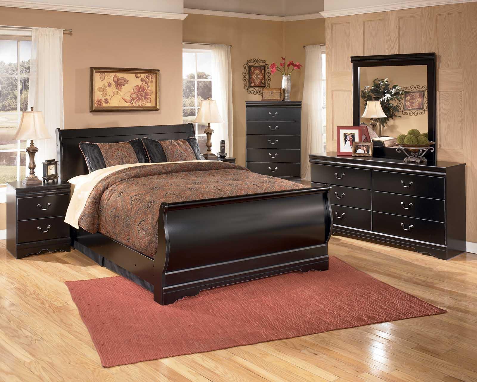 full bedroom sets huey vineyard 4-piece sleigh bedroom set in black LUWPBFD