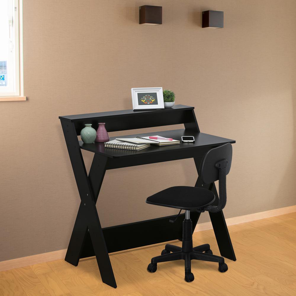 furinno modern simplistic espresso criss-crossed study desk QEOVBAN