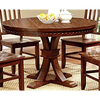 furniture of america castile transitional round dining table, dark oak ESCAEHM