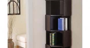 furniture of america laina geometric espresso 5-shelf corner bookshelf - HCFXZMM