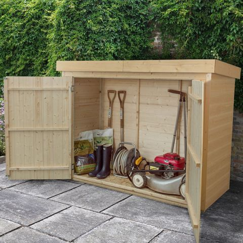 garden storage 7x3 pressure treated shiplap large pent outdoor store JFRRKTU