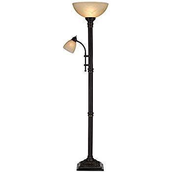 garver bronze torchiere floor lamp with reader arm NGFHVFV