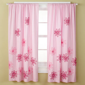 girls curtains: girls pink flower curtain panels - 63 pink floral GAEIARF
