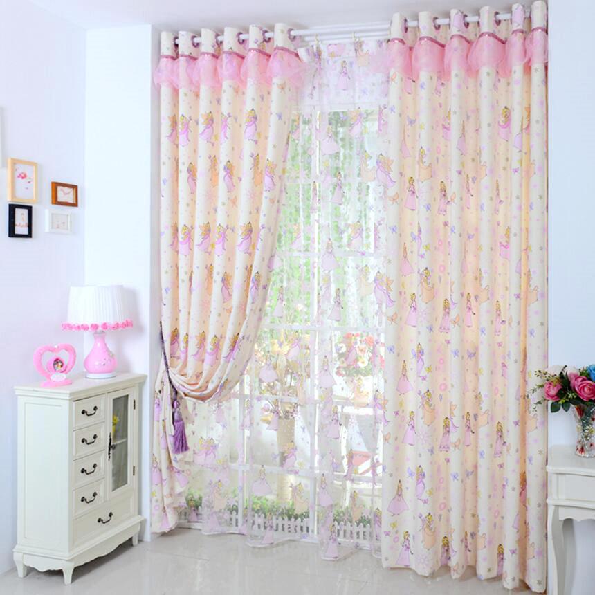 girls curtains girls pink princess cartoon cotton half blackout kids curtains(no valance) DSYPUIQ