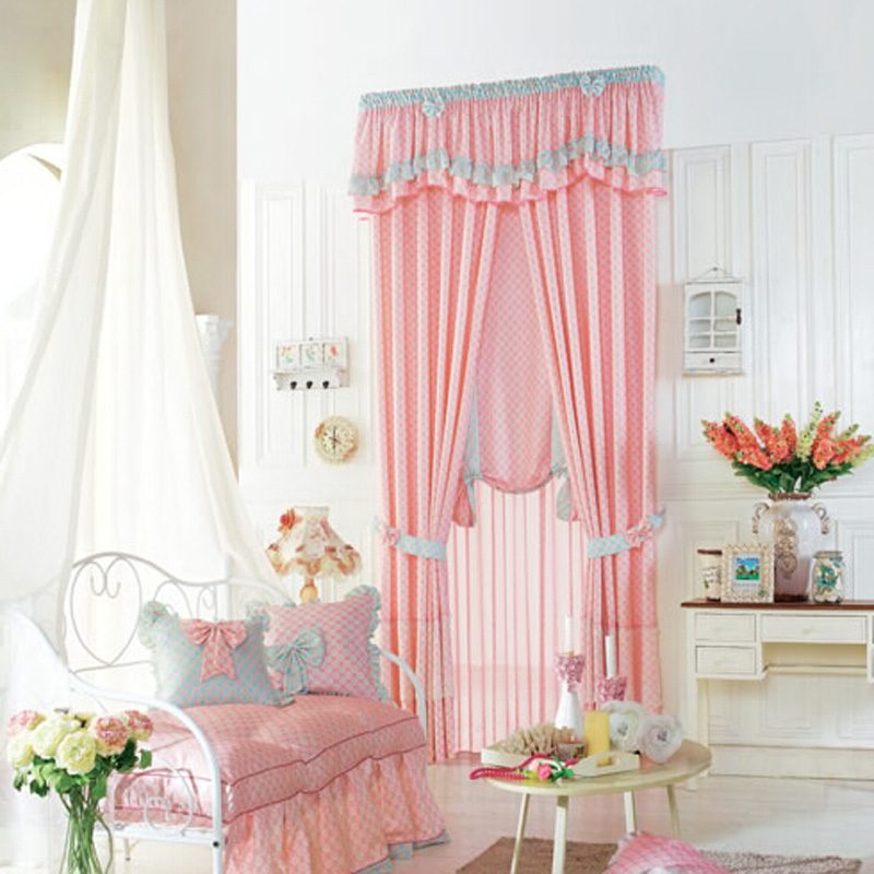 girls curtains luscious pink polyester plaid kids curtain for girls room RKHWGLS