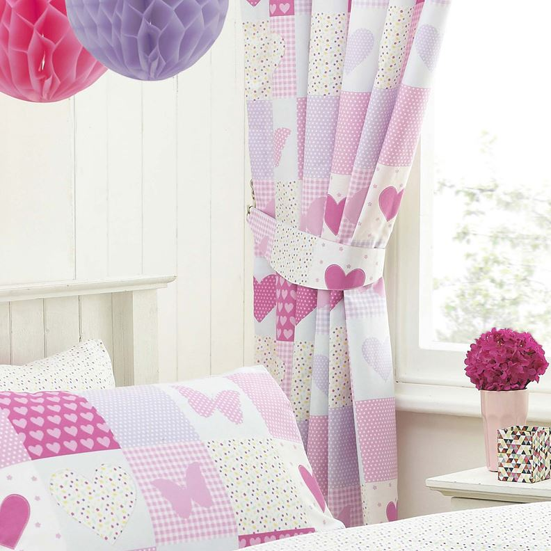 girls curtains textile-warehouse-pink-patchwork-girls-kids-childrens-butterfly- ZPUJSTQ