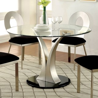 glass dining room table furniture of america sculpture iii contemporary glass top round dining table SKAOKHA