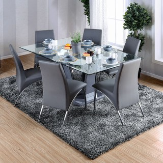glass dining room table furniture of america ziana contemporary rectangular tempered glass dining  table NGPTYPM