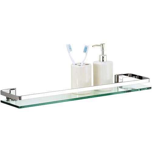 glass shelf with chrome finish and rail ZWZOFET