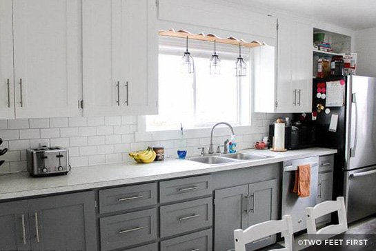 gray and white painted kitchen cabinets NDATTXW