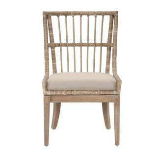 gray manor sidney distressed tan mahogany/fabric/rattan dining chairs (set  of KPONFBZ