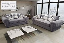 grey sofas verona sofa set 3+2 chesterfield fabric silver or graphite grey HCXNSUM