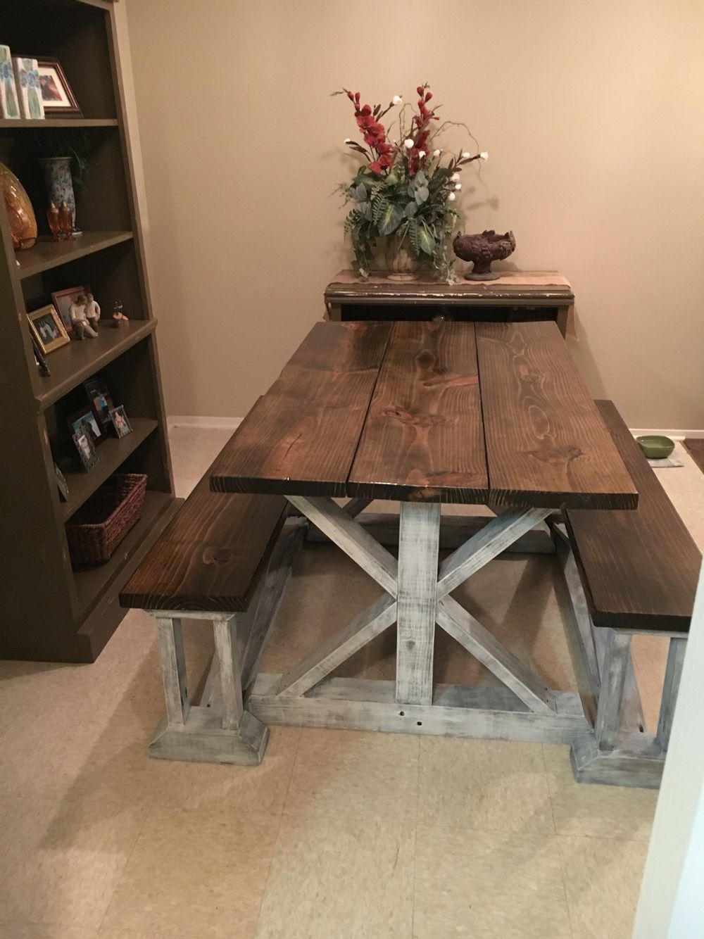 handmade farmhouse table with benches handmade furniture -  http://amzn.to/2iwpdj4 VFLIMZN