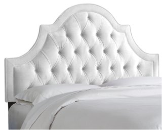 harvey tufted headboard, white velvet - headboards - bedroom - furniture KZHKYEA