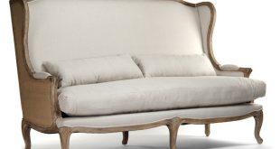 high back sofa french country leon high back linen sofa dining bench SQIYVTB