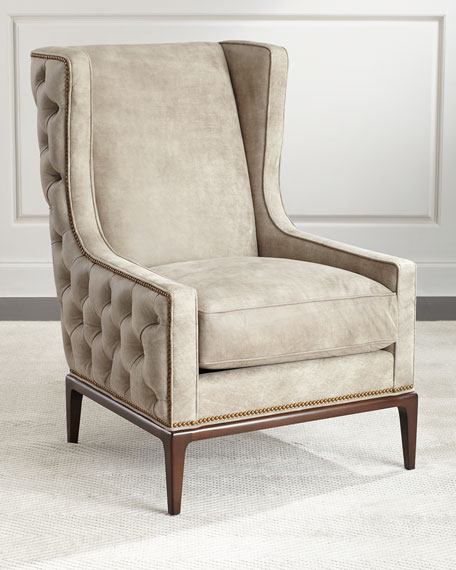 idris tufted-back leather wing chair NDUPOEA