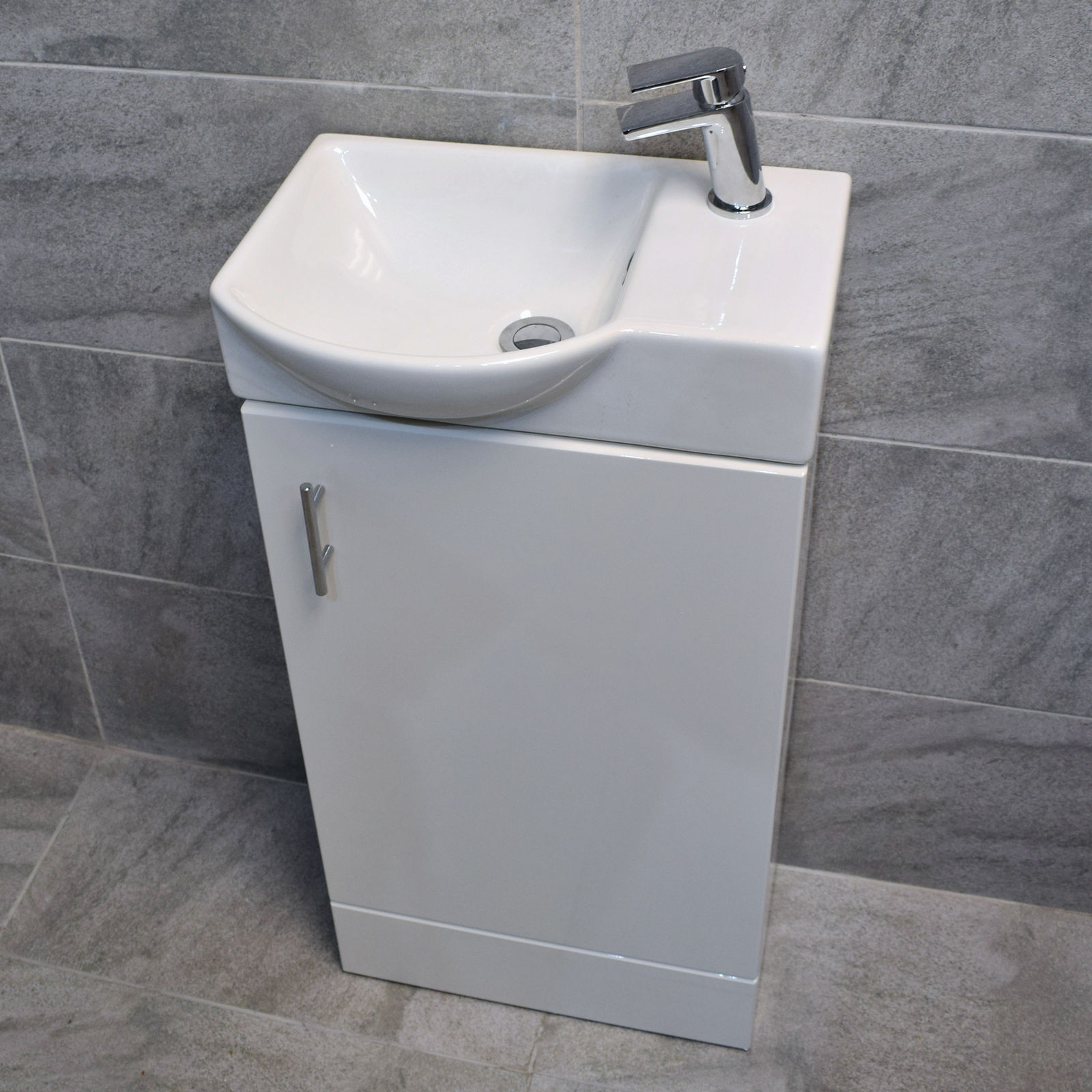 karla 450mm white compact cloakroom vanity unit / with optional tap MMRYYFP