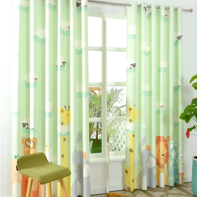 kids blackout curtains light green animal kids half blackout patterns cool curtains KIFUQWD