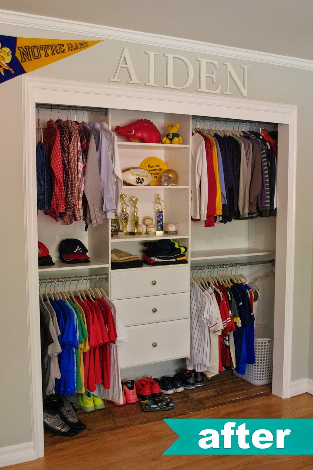 kids closet organization ideas. love name up top. HKFBMDG