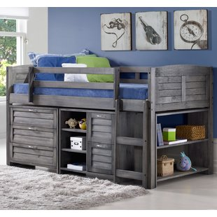 kids loft bed evan twin low loft slat bed with bookcase, chest and shelves QRUDXHV