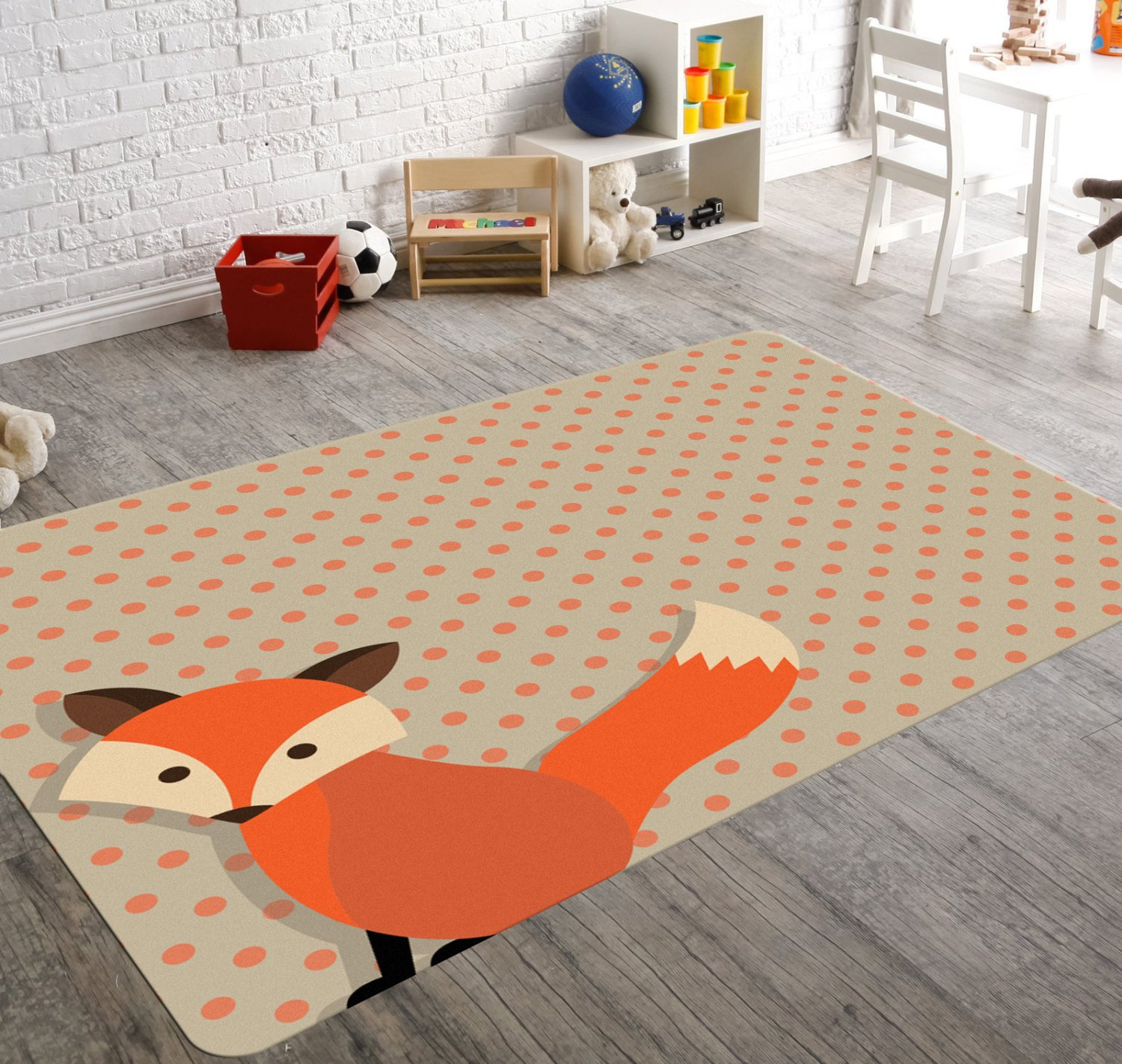 kids rug fox nursery rug, orange fox rug, brown and orange polka dot MTKZXCV