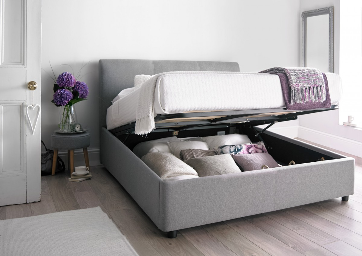 king size bed serenity upholstered ottoman storage bed - cool grey ... XPOEGNY