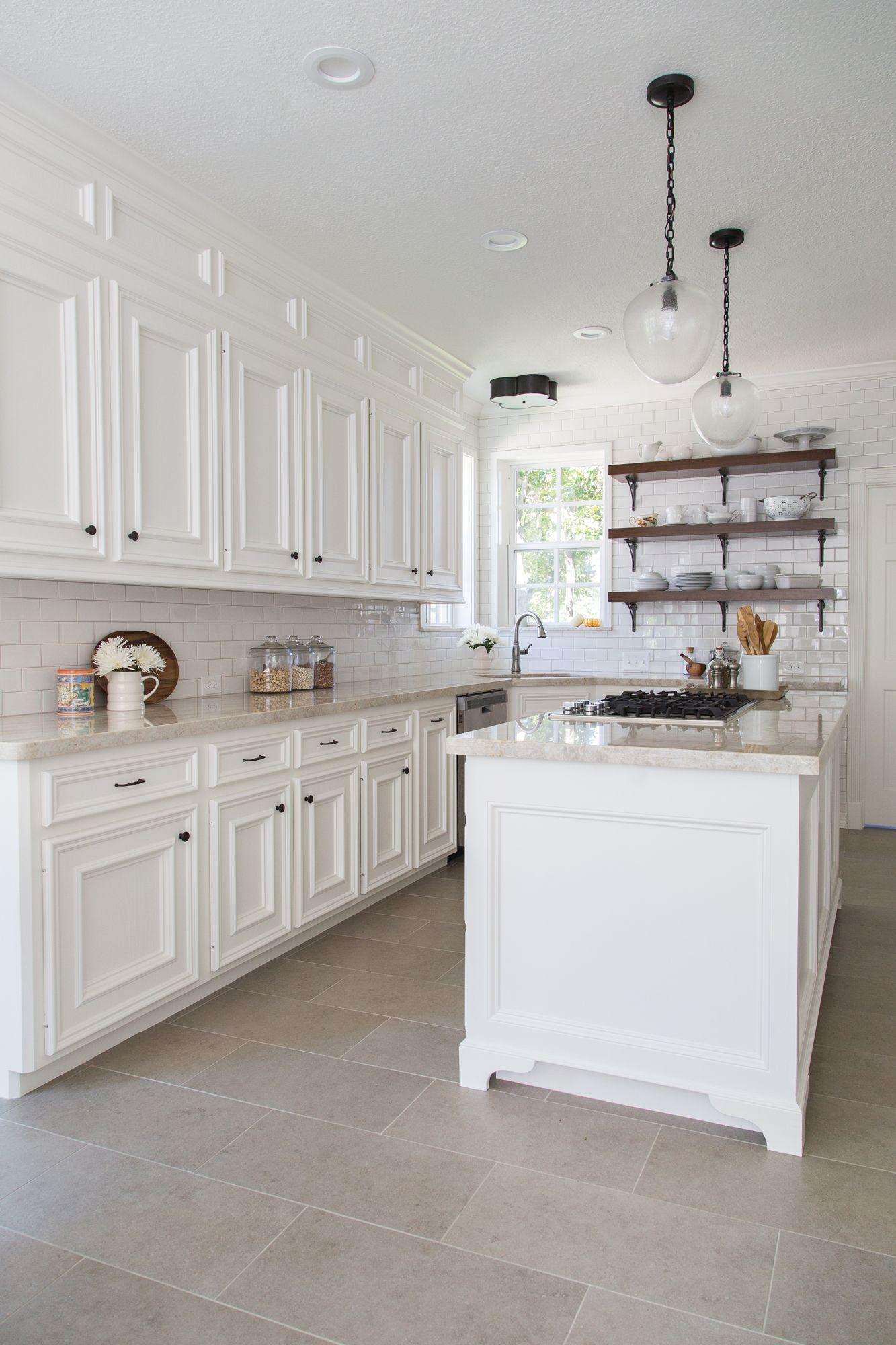 kitchen flooring with tiles farmhouse kitchen remodel | interior designer: carla aston | photographer: XNQNSDB