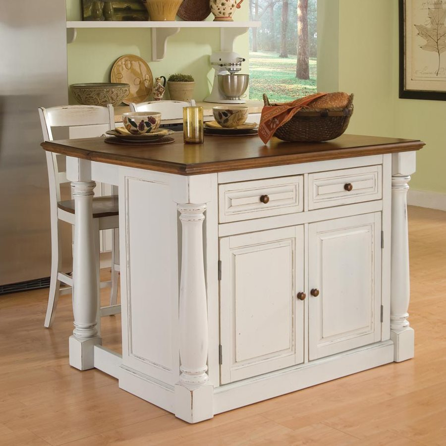 kitchen island home styles white midcentury kitchen islands 2-stools SLFJUBD