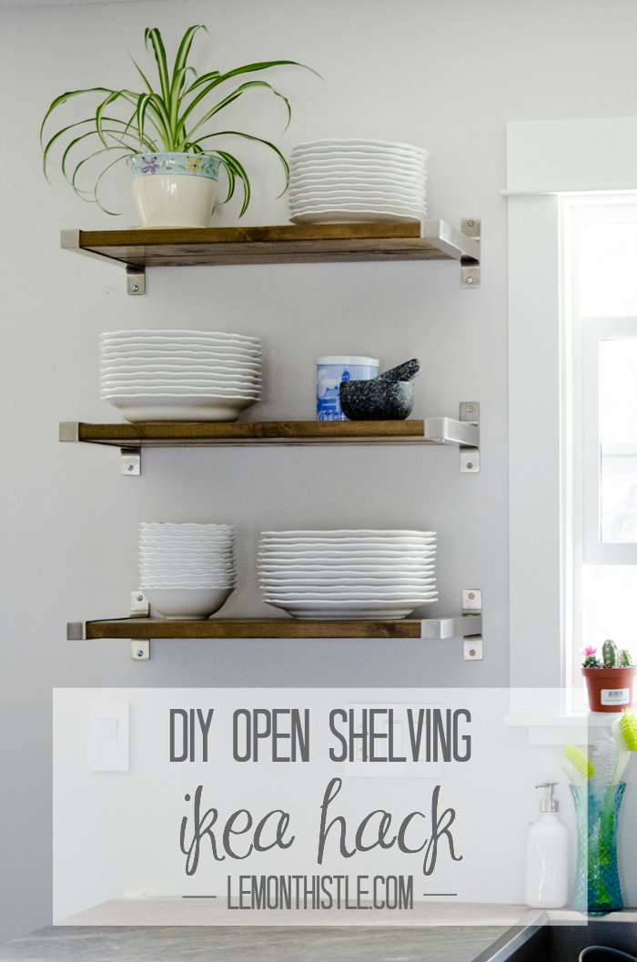 kitchen shelves diy open shelving - ikea hack - lemonthistle.com DTBHUQZ