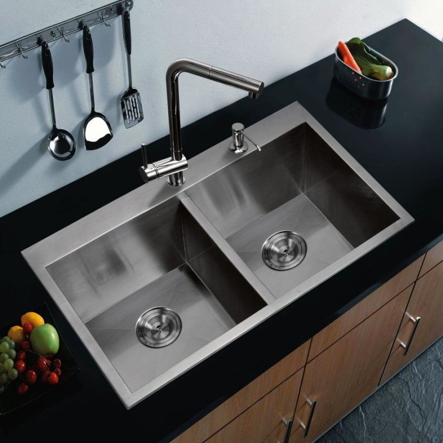 kitchen sinks designs view in gallery top mount zero radius stainless steel double bowl IBRNADJ