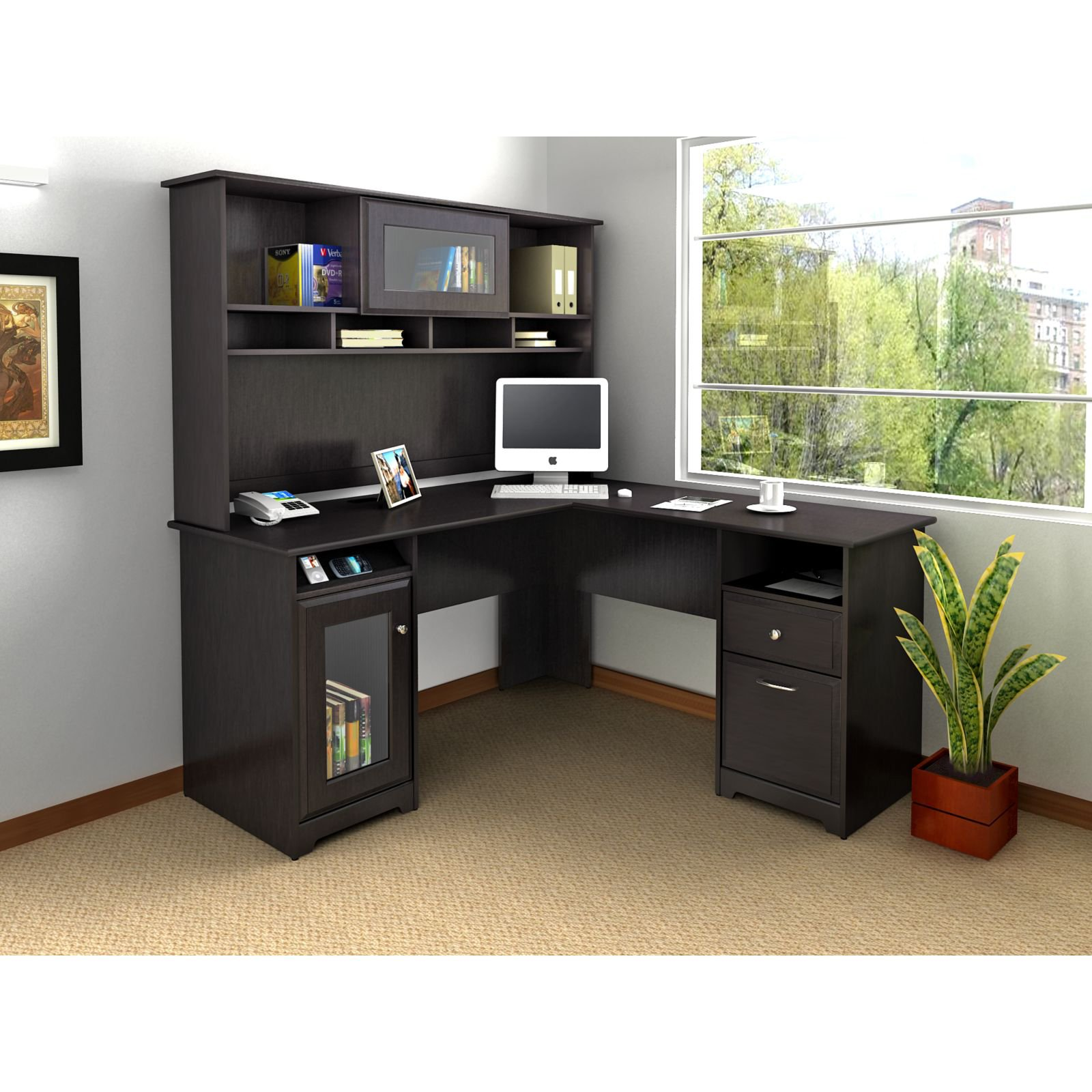 l shaped desk bush cabot l-shaped desk with optional hutch | hayneedle APXHRAM