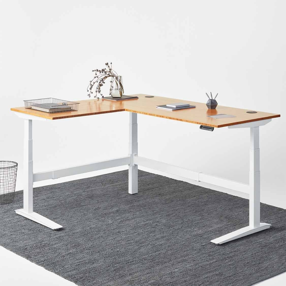 l shaped desk jarvis l-shaped bamboo standing desk ... KTSOCSF