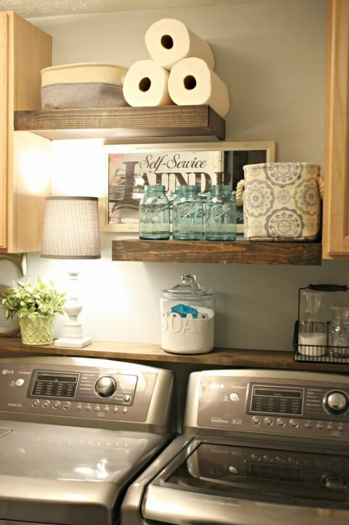 laundry room decor rustic wood laundry supply shelving NYJMLPC