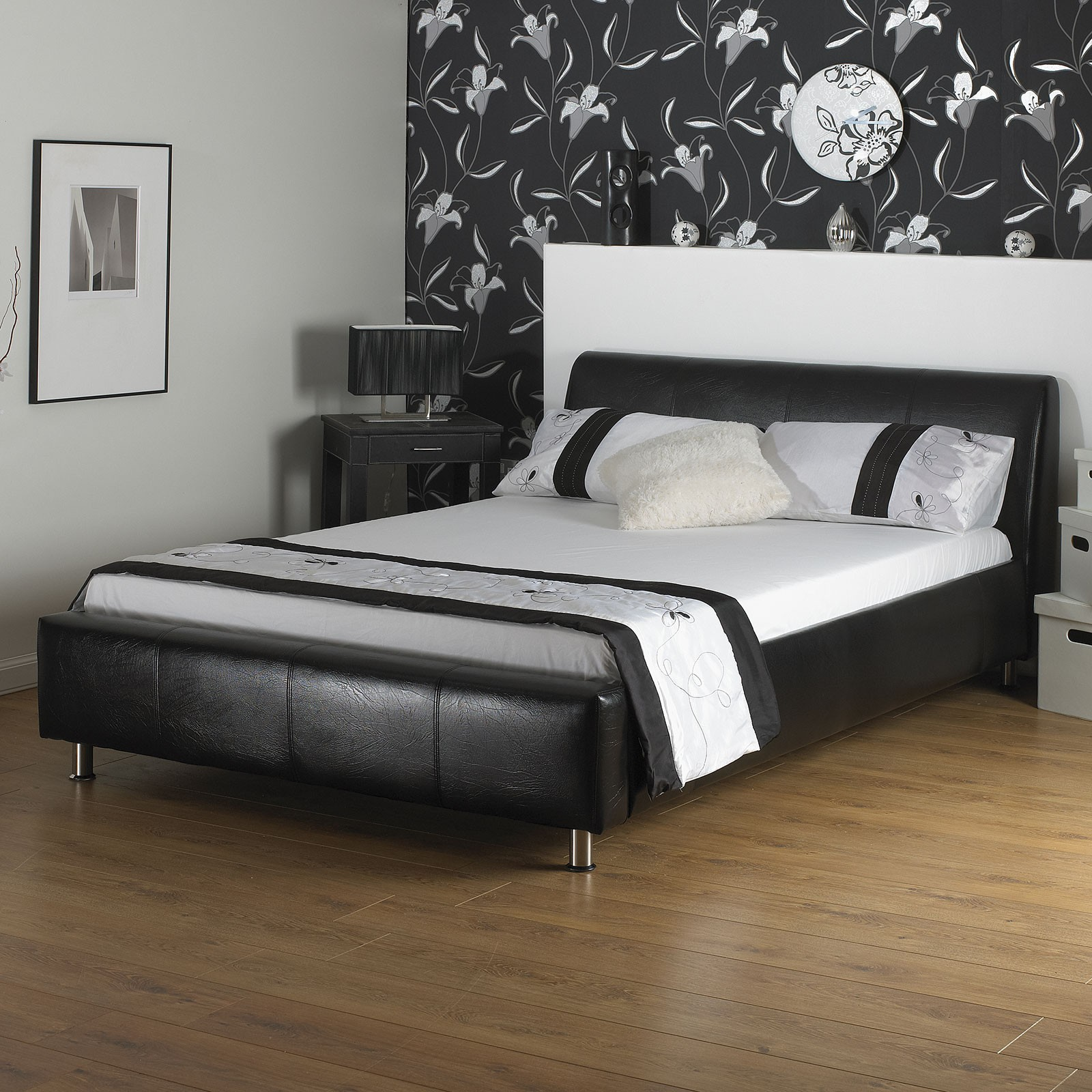 leather beds a u0026 i beds coal black faux leather bed CXRVNDX